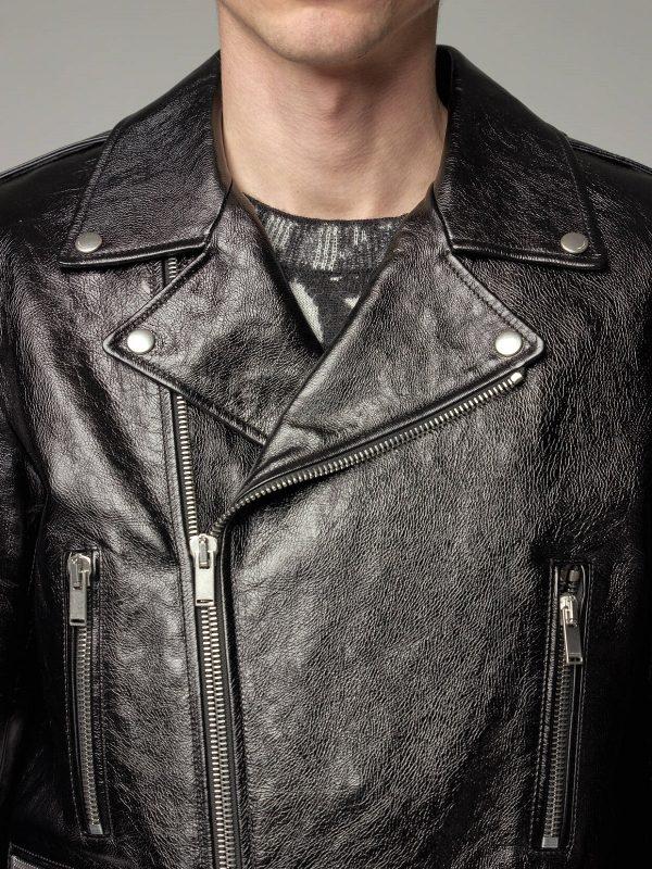 men glossy leather jacket