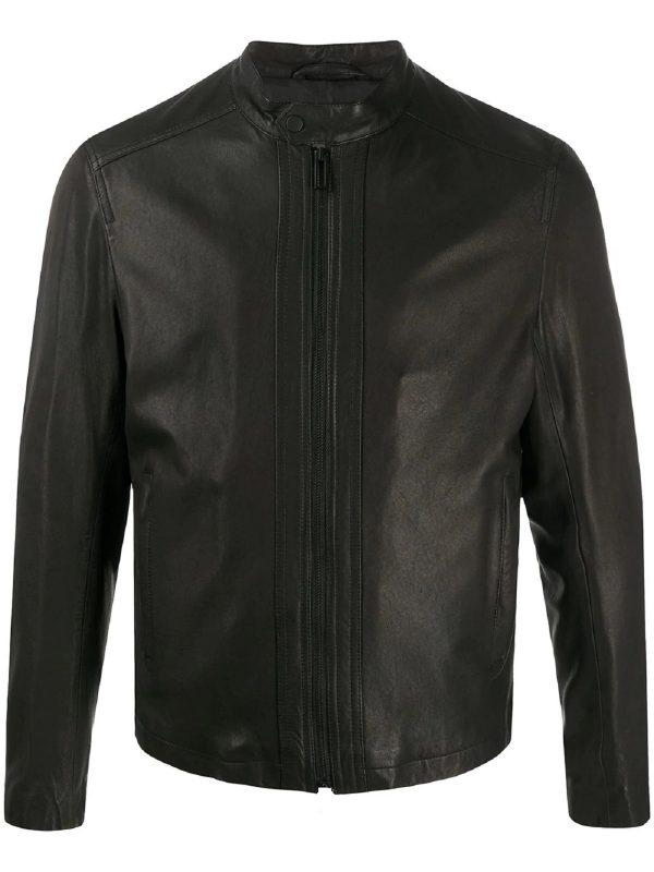trendy men brown leather jacket