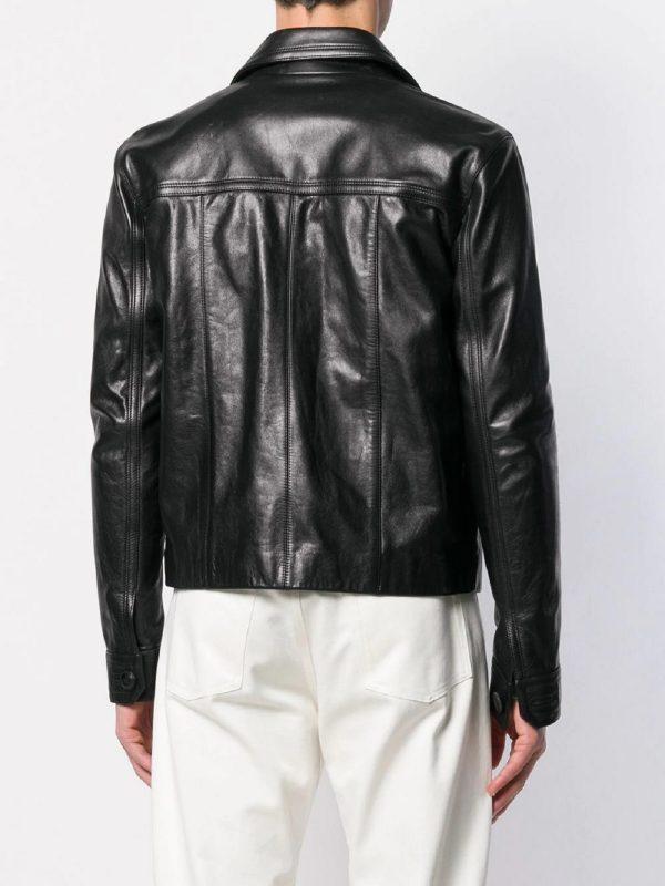 men button down leather jacket