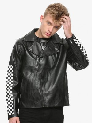 men black checkered leather jacket
