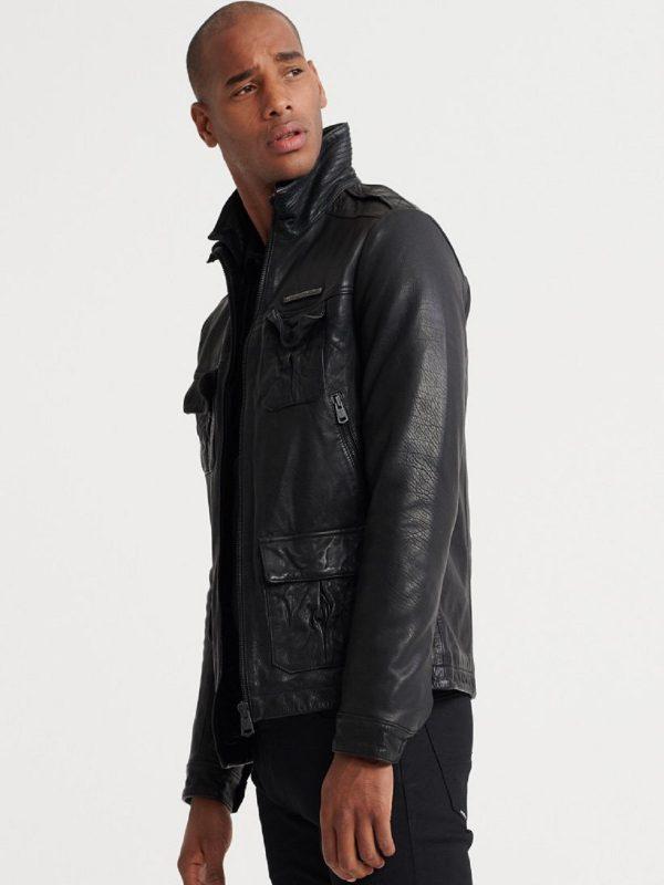 men pure black jacket
