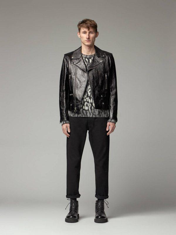 men black glossy leather jacket