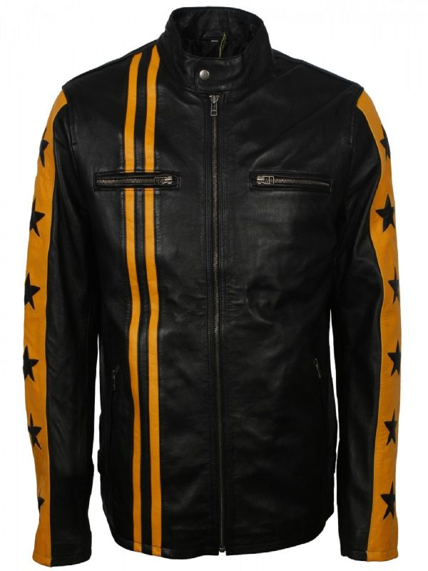men black moto jacket with yellow stripes