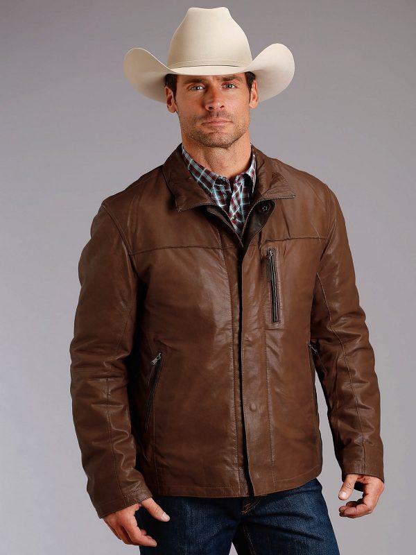 men cowboy leather jacket