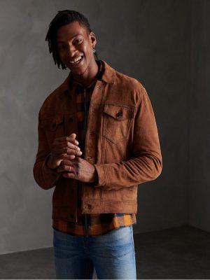 men suede leather jacket