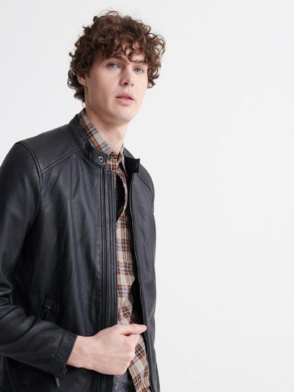 stylish black leather jacket for men