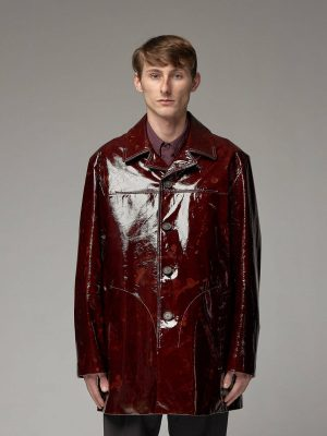 trending men red leather jacket