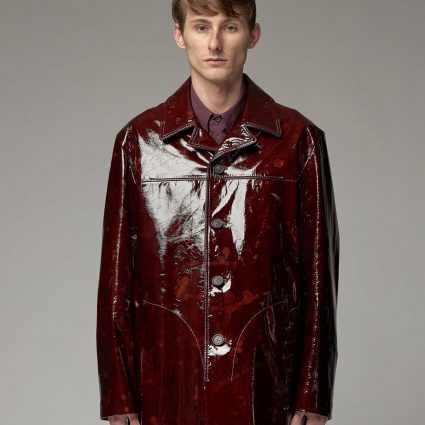 trending men red leather jacket