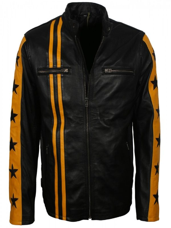 trending men black biker jacket