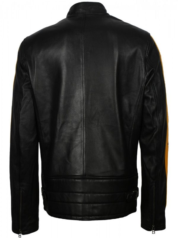 stylish men black biker leather jacket