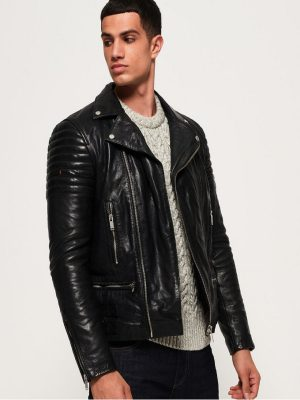 wrinkled leather jacket for men