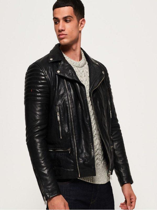 wrinkled leather jacket for men
