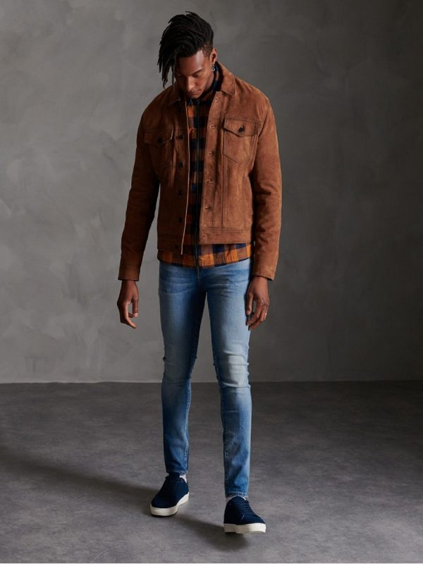 men tawny brown suede jacket