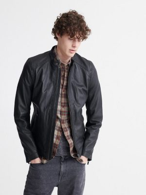 dull black jacket for men