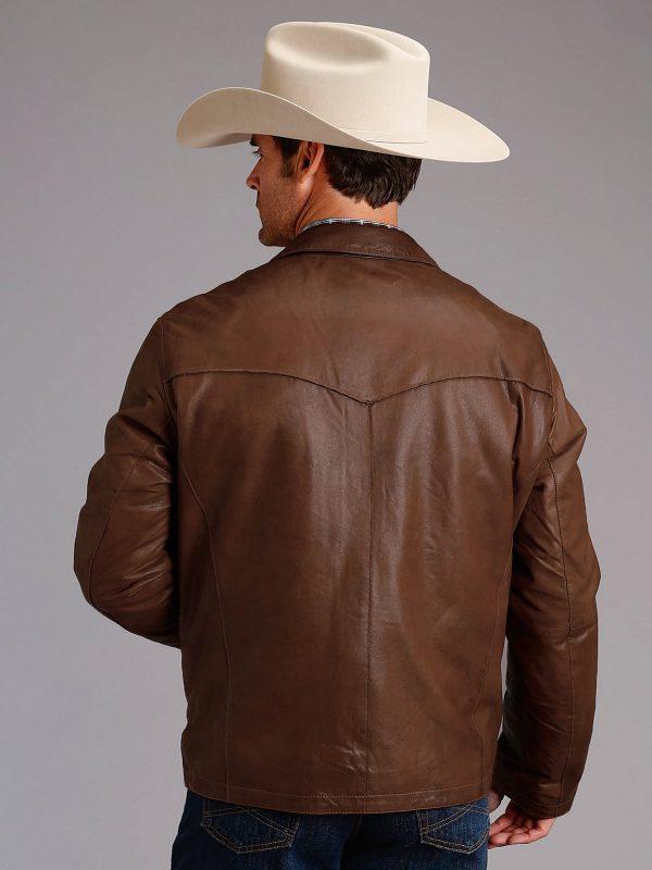 stylish men brown leather jacket