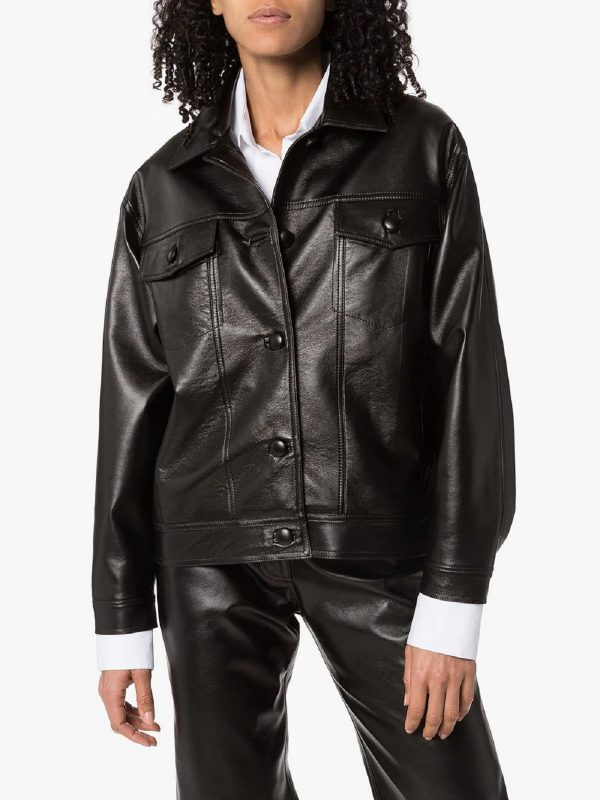 women old school leather jacket