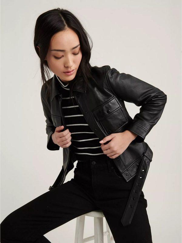 stylish black leather jacket
