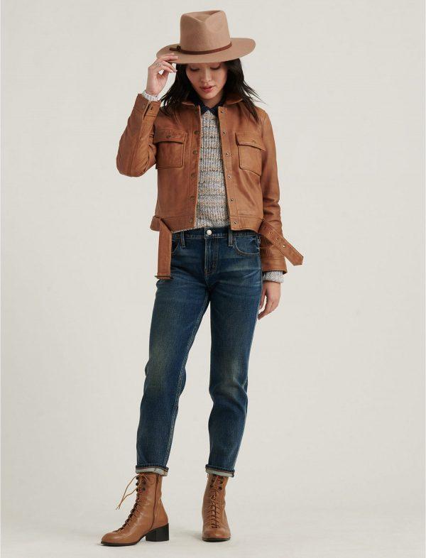 stylish brown leather jacket