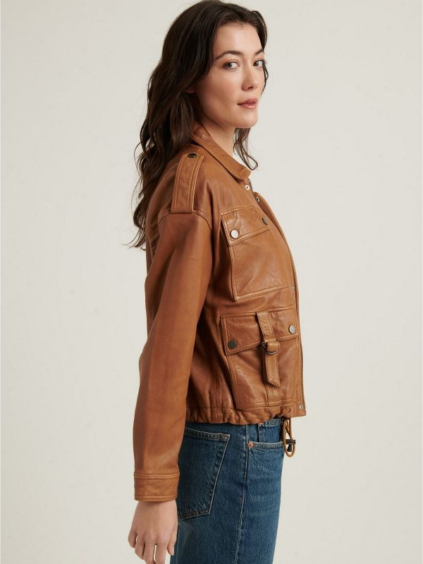 stylish women brown leather jacket