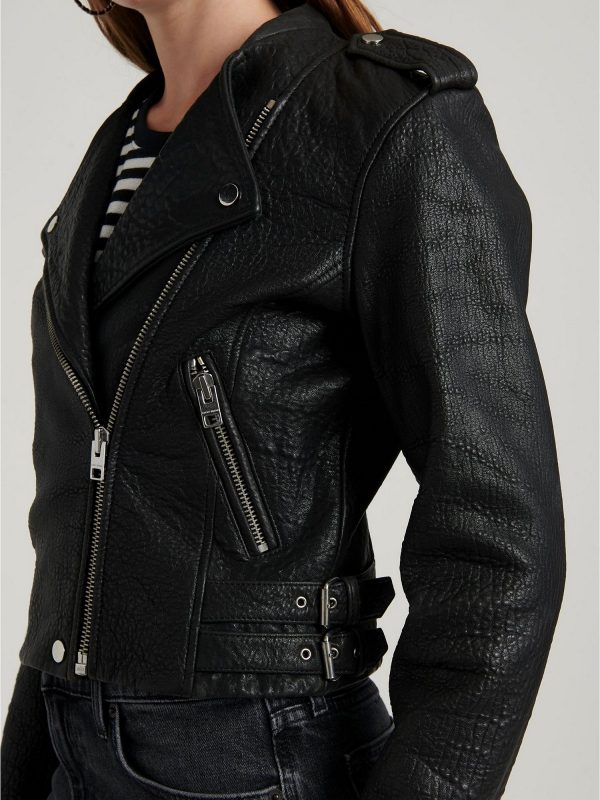 women pitch black jacket