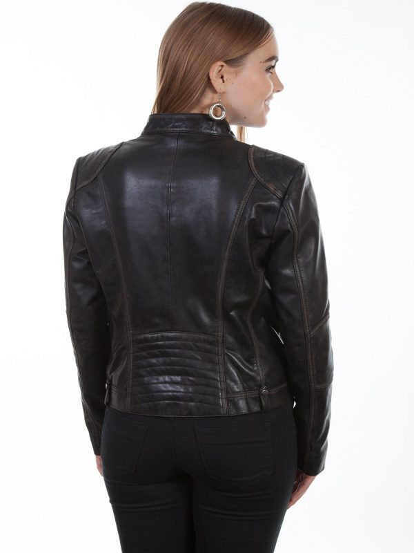 women vintage leather jacket