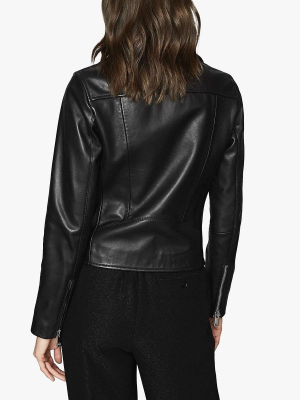 women basic leather jacket