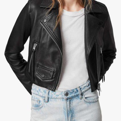 stylish women black leather jacket