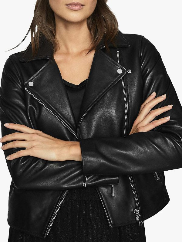women biker black leather jacket