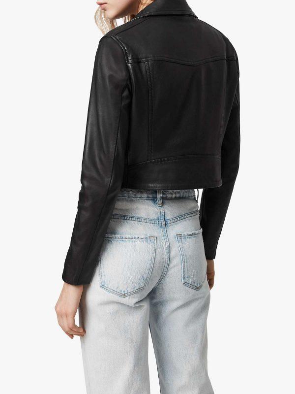 classic women black leather jacket
