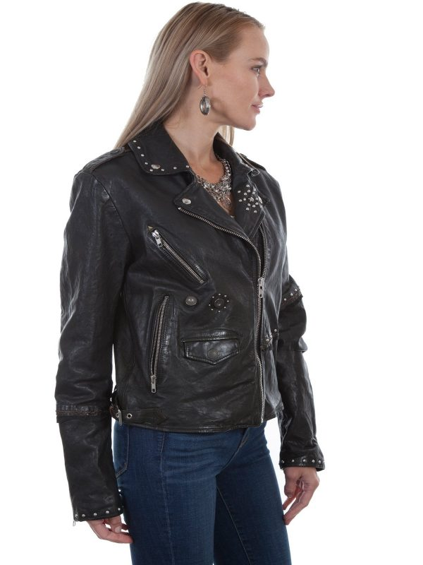 trending women black leather jacket