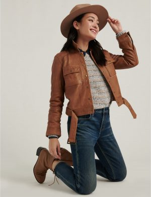 fashionable women leather jacket