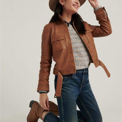 fashionable women leather jacket
