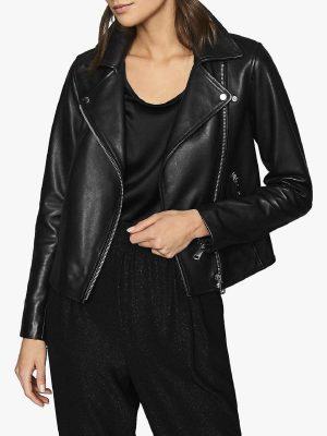 women trendy leather jacket