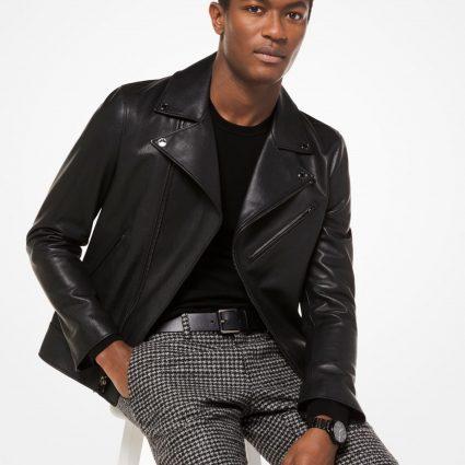 stylish grained leather jacket