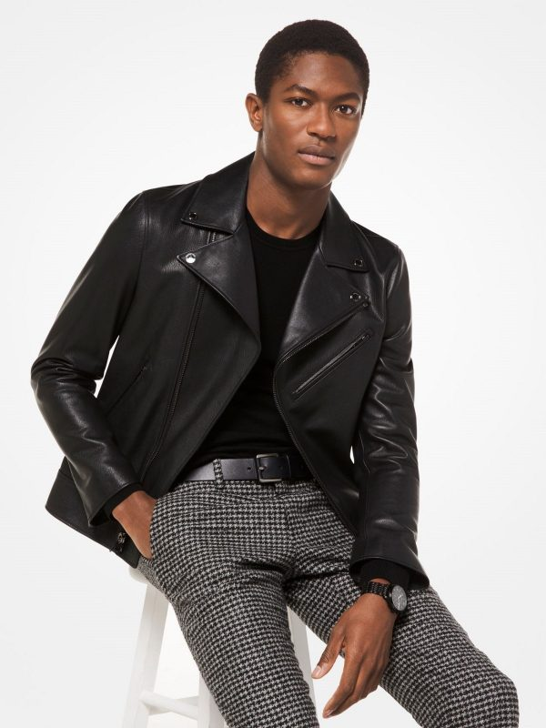 stylish grained leather jacket
