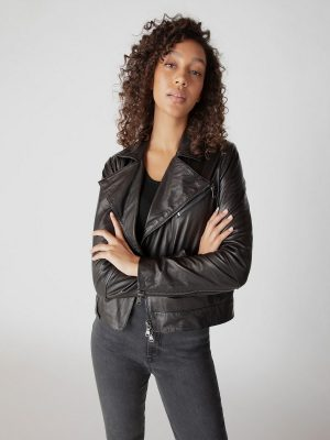 women dark brown biker jacket