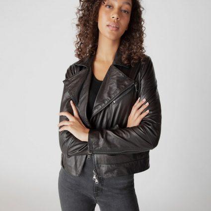 women dark brown biker jacket