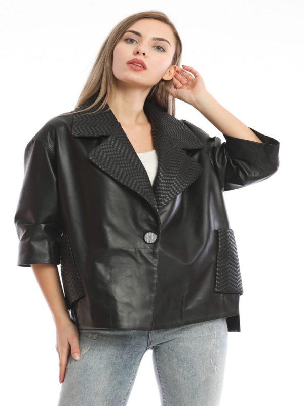 women urban style leather jacket