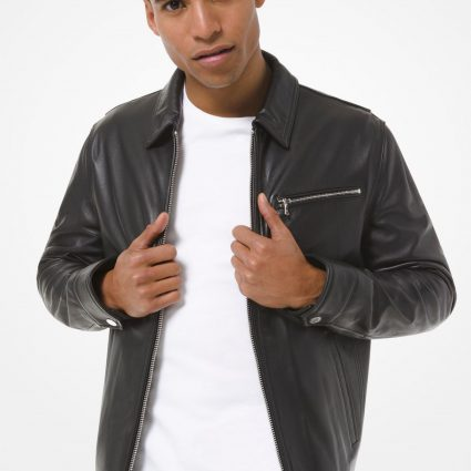 men classic leather jacket