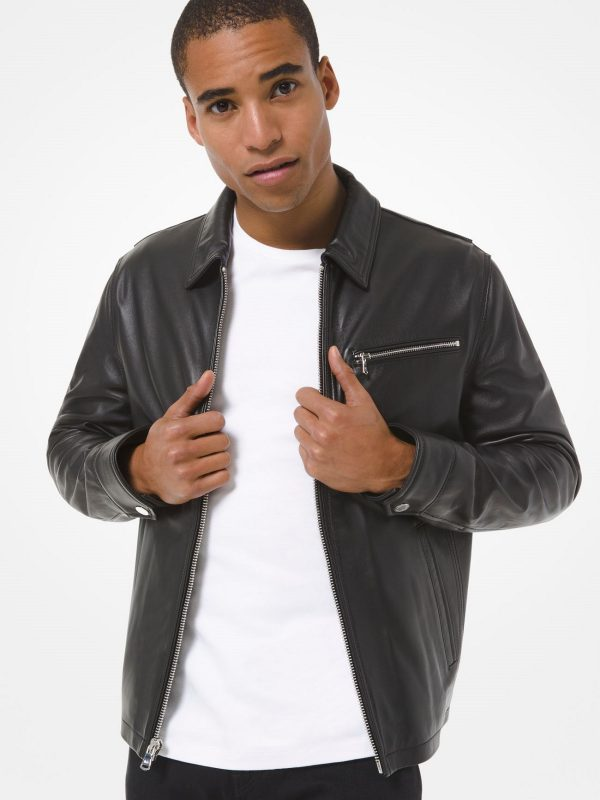 men classic leather jacket