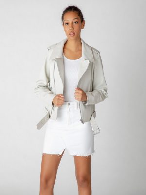 trending white leather jacket for women