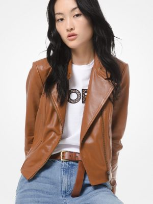 classy brown leather jacket