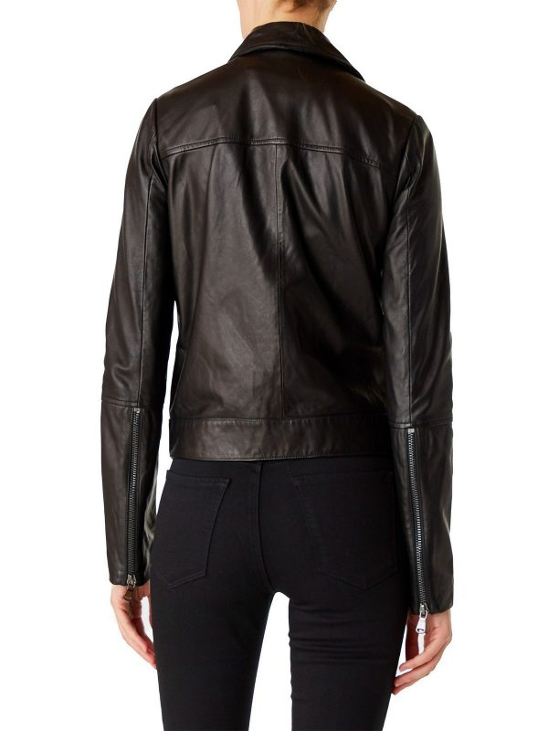 classic brown leather jacket for women