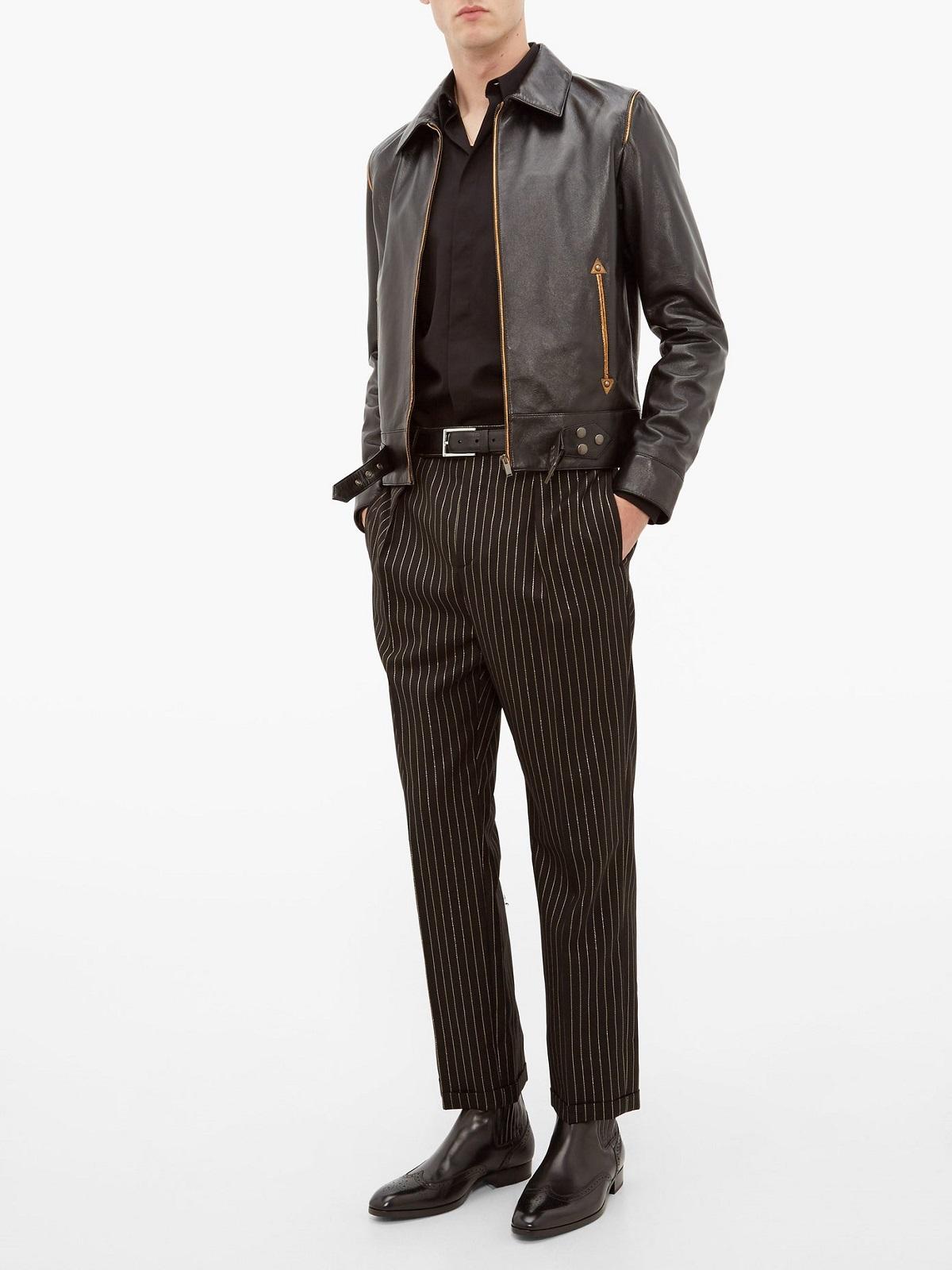 Shirt Collar Black Leather Jacket - MauveTree
