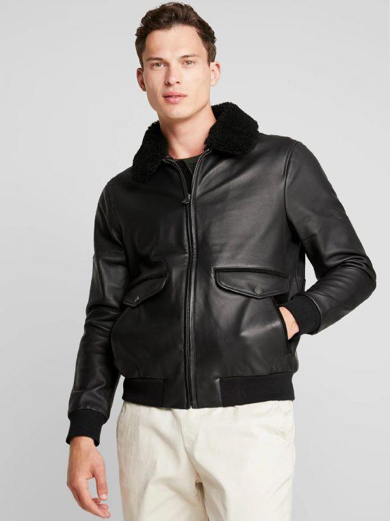 Fur Collar Black Leather Jacket - MauveTree