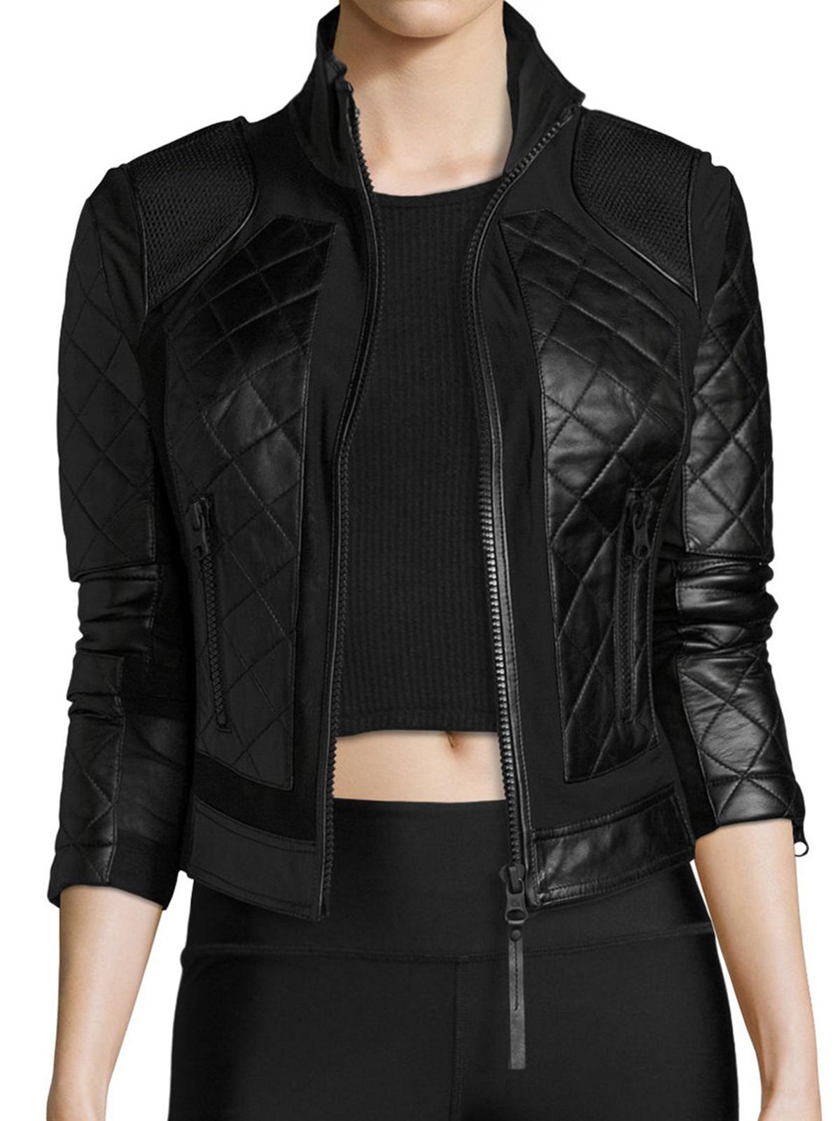 Black Bomber Leather Jacket - MauveTree